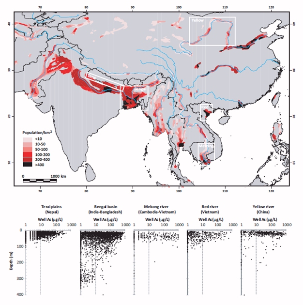 Distribution of arsenic in groundwater of South and Southeast Asia.